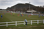 Edinburgh University 3 Selkirk 2, 13/03/2016. Peffermill, Scottish Lowland League. 'Groundhoppers' and other spectators watching Edinburgh University taking on Selkirk in a Scottish Lowland League match at Peffermill, Edinburgh in a game the hosts won 3-2. The match was one of six attended by members of GroundhopUK over the weekend to accommodate groundhoppers, fans who attempt to visit as many football venues as possible. Around 100 fans in two coaches from England participated in the 2016 Lowland League Groundhop and they were joined by other individuals from across the UK which helped boost crowds at the six featured matches. Photo by Colin McPherson.