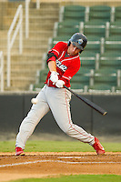 Mitch Walding (10) of the Lakewood BlueClaws at bat against the Kannapolis Intimidators at CMC-Northeast Stadium on August 13, 2013 in Kannapolis, North Carolina.  The Intimidators defeated the BlueClaws 12-8.  (Brian Westerholt/Four Seam Images)