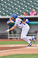 Tennessee Smokies third baseman Chesny Young (3) runs to first during a game against the Jackson Generals at Smokies Stadium on July 5, 2016 in Kodak, Tennessee. The Generals defeated the Smokies 6-4. (Tony Farlow/Four Seam Images)