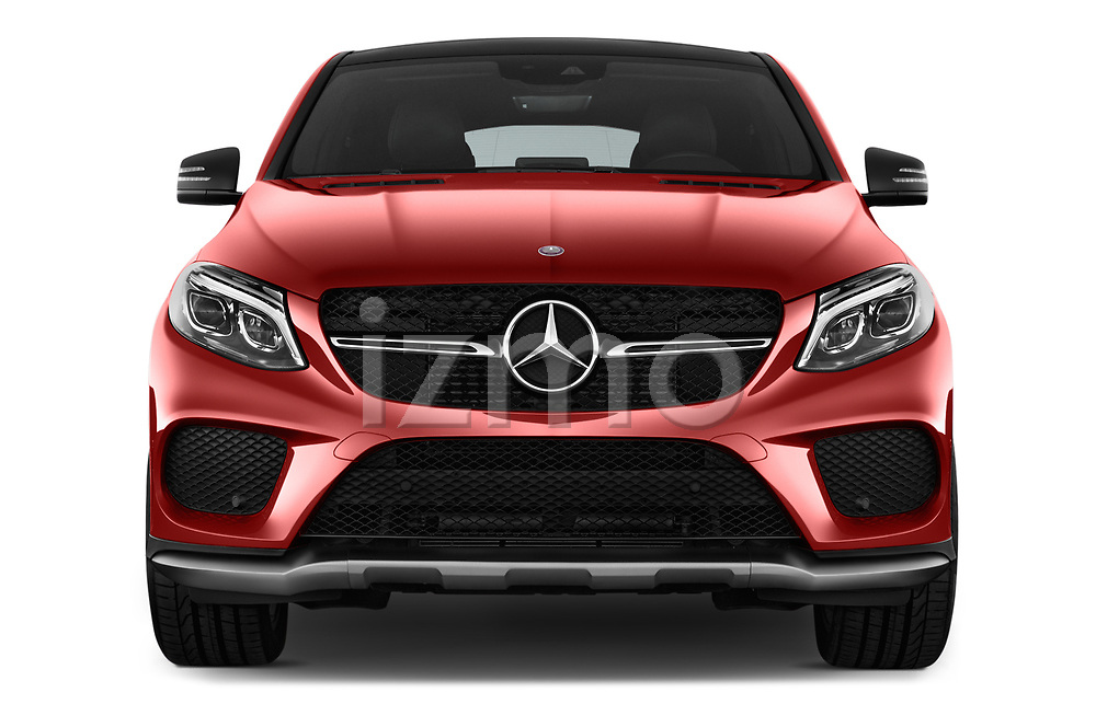 Car photography straight front view of a 2016 Mercedes Benz GLE-Class-Coupe GLE450-AMG 5 Door SUV Front View