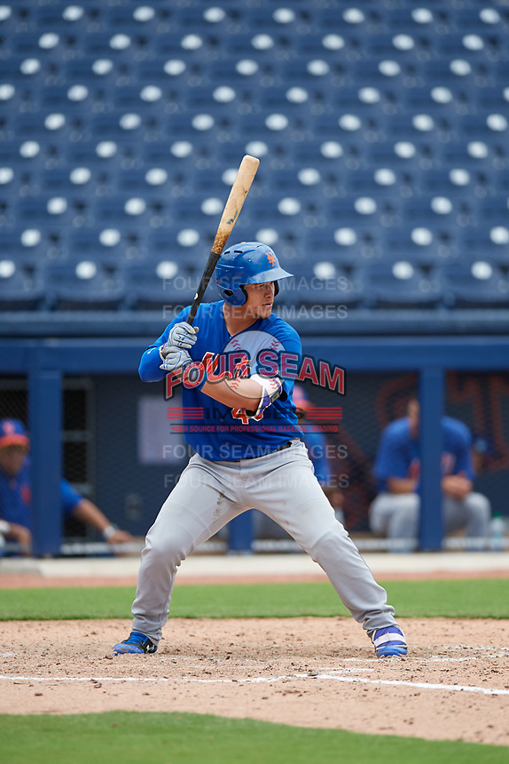 GCL Mets catcher Natanael Ramos (40) at bat during the second game of a doubleheader against the GCL Nationals on July 22, 2017 at The Ballpark of the Palm Beaches in Palm Beach, Florida.  GCL Mets defeated the GCL Nationals 4-1.  (Mike Janes/Four Seam Images)