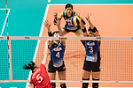 Wing spiker Iuliia Kutiukova of Russia (L) spikes the ball during the FIVB Volleyball World Grand Prix match between Japan vs Russia on 23 July 2017 in Hong Kong, China. Photo by Marcio Rodrigo Machado / Power Sport Images