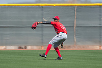 Los Angeles Angels center fielder Jo Adell (25) during a Minor League Spring Training game against the Cincinnati Reds at the Cincinnati Reds Training Complex on March 15, 2018 in Goodyear, Arizona. (Zachary Lucy/Four Seam Images)