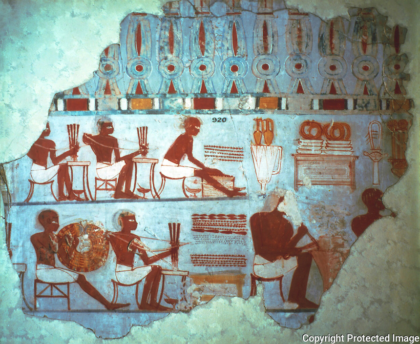 Egyptian Tomb Paintings:  Jewellers at work, c. 1400 BC.  Trustees of the British Museum.  Reference only.