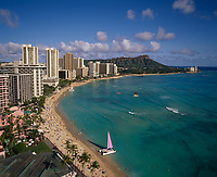 Waikiki Beach, Honolulu, Oahu, Hawaii, USA.