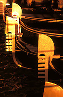Italy, Venice, Bows of gondolas (ferros)
