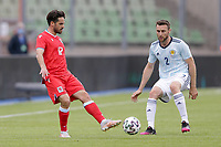 6th June 2021, Stade Josy Barthel, Luxemburg; International football friendly Luxemburg versus Scotland; Mica Pinto Luxembourg passes away from Stephen O'Donnell Scotland
