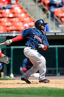 Pawtucket Red Sox outfielder Jackie Bradley Jr #19 during the first game of a doubleheader against the Buffalo Bisons on April 25, 2013 at Coca-Cola Field in Buffalo, New York.  Pawtucket defeated Buffalo 8-3.  (Mike Janes/Four Seam Images)
