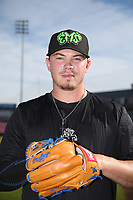 Keegan Thompson (17) of the Eugene Emeralds poses for a photo before a game against the Salem-Keizer Volcanoes at Volcanoes Stadium on July 25, 2017 in Salem-Keizer, Oregon. Eugene defeated Salem-Keizer, 7-6. (Larry Goren/Four Seam Images)