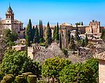 Spanien, Andalusien, Granada: Blick vom Generalife zur Alhambra | Spain, Andalusia, Granada: view from Generalife at Alhambra