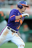 Third Baseman Richie Shaffer #8 rounds first on a double down the left field line to break open a 1-1 tie during a  game against the Miami Hurricanes at Doug Kingsmore Stadium on March 31, 2012 in Clemson, South Carolina. The Tigers won the game 3-1. (Tony Farlow/Four Seam Images)..