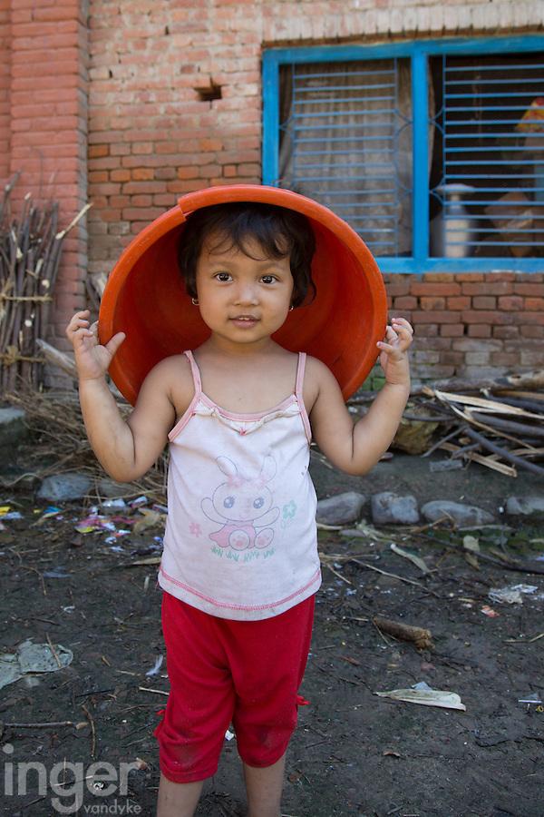 Little Girl Playing in Bungamati, Nepal