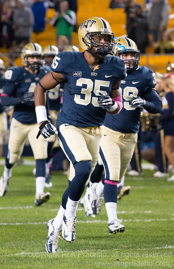 Pitt defensive back E.J. Banks (35). The Pitt Panthers defeated the Old Dominion Monarchs 35-24 at Heinz Field, Pittsburgh, Pennsylvania on October 19, 2013.