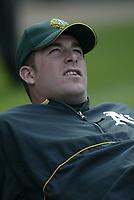 Mark Mulder of the Oakland Athletics during a 2003 season MLB game at Angel Stadium in Anaheim, California. (Larry Goren/Four Seam Images)