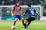 Filipe Luis (L) of Atletico de Madrid is tackled by Mattia Politano of FC Internazionale during their International Champions Cup Europe 2018 match between Atletico de Madrid and FC Internazionale at Wanda Metropolitano on 11 August 2018, in Madrid, Spain. Photo by Diego Souto / Power Sport Images