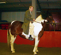 BNPS.co.uk (01202 558833)<br /> Pic: SisterLangdon/BNPS<br /> <br /> Freud at the pony centre on a different horse (Sioux) that he did paint.<br /> <br /> An abandoned drawing of a horse by Lucian Freud together with painting materials he also left behind have sold at auction for £80,000. The celebrated British artist gave up on his study of the horse called Goldie halfway through as he decided he didn't like her personality.He left the unfinished work at the Wormwood Scrubs Pony Centre in west London along with his easel, palette and paint brushes. The items have now sold at Chiswick Auctions.