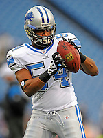 28 August 2008:  Detroit Lions' linebacker Gilbert Gardner warms up prior to a game against the Buffalo Bills at Ralph Wilson Stadium in Orchard Park, NY. The Lions defeated the Bills 14-6 in their fourth and final pre-season game...Mandatory Photo Credit: Ed Wolfstein Photo