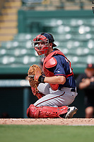 GCL Twins catcher Austin Hale (70) during the first game of a doubleheader against the GCL Orioles on August 1, 2018 at CenturyLink Sports Complex Fields in Fort Myers, Florida.  GCL Twins defeated GCL Orioles 7-6 in the completion of a suspended game originally started on July 31st, 2018.  (Mike Janes/Four Seam Images)