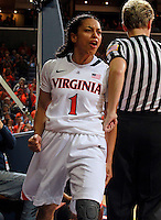CHARLOTTESVILLE, VA- NOVEMBER 20:  China Crosby #1 of the Virginia Cavaliers reacts to a play during the game on November 20, 2011 against the Tennessee Lady Volunteers at the John Paul Jones Arena in Charlottesville, Virginia. Virginia defeated Tennessee in overtime 69-64. (Photo by Andrew Shurtleff/Getty Images) *** Local Caption *** China Crosby