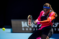 10th February 2021, Melbourne, Victoria, Australia; Serena Williams of the United States of America returns the ball during round 2 of the 2021 Australian Open on February 10 2020, at Melbourne Park in Melbourne, Australia.