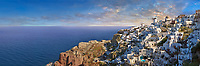 Panoramic view of Oia (ia), Cyclades Island of  Thira, Santorini, Greece.<br /> <br /> The settlement of Oia had been mentioned in various travel reports before the beginning of Venetian rule, when Marco Sanudo founded the Duchy of Naxos in 1207 and feudal rule was instituted on Santorini. n 1537, Hayreddin Barbarossa conquered the Aegean islands and placed them under Sultan Selim II. However, Santorini remained under the Crispo family until 1566, passing then to Joseph Nasi and after his death in 1579 to the Ottoman Empire.