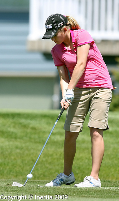 SIOUX FALLS, SD - MAY 18:  Jordan Bormann of Parkston hits her tee shot on the 15th hole during the first round of the 2009 Class 'A' Girls Golf Tournament Monday at Central Valley in Hartford. (Photo by Dave Eggen/Inertia).