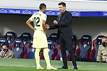 Atletico de Madrid's coach Diego Pablo Cholo Simeone (r) with Renan Lodi during La Liga match. September 30,2020. (ALTERPHOTOS/Acero)