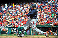 22 July 2012: Atlanta Braves outfielder Eric Hinske in action against the Washington Nationals at Nationals Park in Washington, DC. The Braves fell to the Nationals 9-2 splitting their 4-game weekend series. Mandatory Credit: Ed Wolfstein Photo