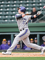 Infielder Jake Schreiber (17) of the Northwestern Wildcats hits in a game against the Furman University Paladins on Saturday, February 16, 2013, at Fluor Field in Greenville, South Carolina. The game was cancelled in the fifth inning due to snow. (Tom Priddy/Four Seam Images)