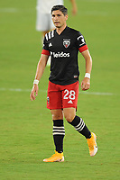 WASHINGTON, DC - AUGUST 25: Joseph Mora #28 of D.C. United during a game between New England Revolution and D.C. United at Audi Field on August 25, 2020 in Washington, DC.