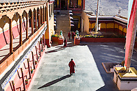The courtyard at Thiksey Gompa. Ladakh,  Jammu and Kashmir, India.