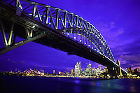 Beautiful Skyline and the Harbour Bridge in Sydney, Australia..