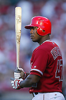 Howie Kendrick of the Los Angeles Angels during a 2007 MLB season game at Angel Stadium in Anaheim, California. (Larry Goren/Four Seam Images)