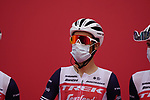 Vincenzo Nibali (ITA) Trek-Segafredo at sign on before the start of Stage 5 of the 2021 UAE Tour running 170km from Fujairah to Jebel Jais, Fujairah, UAE. 25th February 2021.  <br /> Picture: Eoin Clarke   Cyclefile<br /> <br /> All photos usage must carry mandatory copyright credit (© Cyclefile   Eoin Clarke)