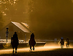 August 24, 2019 : Horses exercise on the Oklahoma Training Track the morning of Travers Stakes Day at Saratoga Racecourse in Saratoga Springs, New York. Scott Serio/Eclipse Sportswire/CSM
