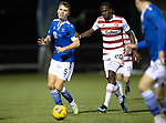 Hamilton Accies v St Johnstone …03.03.21   Fountain of Youth Stadium   SPFL<br />Jason Kerr and David Moyo<br />Picture by Graeme Hart.<br />Copyright Perthshire Picture Agency<br />Tel: 01738 623350  Mobile: 07990 594431