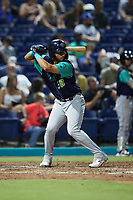 Miguel Jerez (38) of the Lynchburg Hillcats at bat against the Kannapolis Cannon Ballers at Atrium Health Ballpark on August 28, 2021 in Kannapolis, North Carolina. (Brian Westerholt/Four Seam Images)