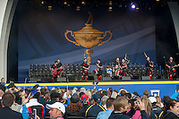 25.09.2014. Gleneagles, Auchterarder, Perthshire, Scotland.  The Ryder Cup.  Red Hot Chilli Pipers perform on stage at the opening ceremony.