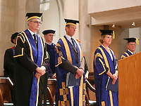 Dinitaries at the degree ceremony, University of Surrey.  The Vice Chancellor, Prof. Chris Snowden, The Chancellor, HRH Duke of Kent and The Pro-Chancellor, actress Penelope Keith.