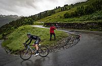 Cees Bol (NED/DSM) descending the Col du Pré (HC/1748m) towards the Barrage de Roselend in, yet again, grim conditions.<br /> <br /> Stage 9 from Cluses to Tignes (145km)<br /> 108th Tour de France 2021 (2.UWT)<br /> <br /> ©kramon