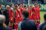 England 3 Wales 0, 24/05/2008. Belle Vue, Rhyl, Four Nations Semi-Professional Tournament. Wales players line-up for the national anthem prior to their match against England in the Four Nations Semi-Professional tournament match at Rhyl which the English won 3-0 and with it the tournament. The tournament was established in 2002 and was held on an annual basis featuring teams from England, Scotland and Wales and an invited team, on this occasion Gibraltar. The tournament is hosted on a rotational basis and in 2008 games were staged at Colwyn Bay FC, Rhyl FC and The New Saints ground in Oswestry. Photo by Colin McPherson.