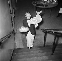 A young busboy in Copenhagen restaurant, 1954