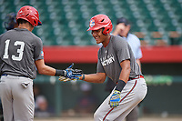 Jeffrey Diaz (13) shakes hands with Bayron Lora (15) as he rounds the bases after hitting a home run during the Dominican Prospect League Elite Underclass International Series, powered by Baseball Factory, on August 31, 2017 at Silver Cross Field in Joliet, Illinois.  (Mike Janes/Four Seam Images)
