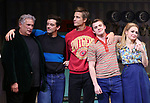 """Harvey Fierstein, Michael Urie, Ward Horton, Jack DiFalco and Roxanna Hope Radja  during the Broadway Opening Night Curtain Call for """"Torch Song"""" at the Hayes Theater on November 1, 2018 in New York City."""