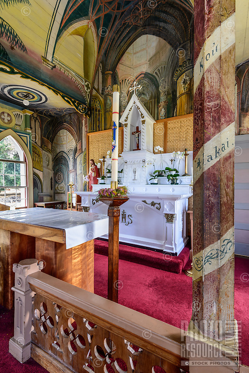 """A view of the altar of St. Benedict Roman Catholic Church (a.k.a. """"The Painted Church"""") Captain Cook, Big Island."""
