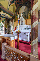"A view of the altar of St. Benedict Roman Catholic Church (a.k.a. ""The Painted Church"") Captain Cook, Big Island."