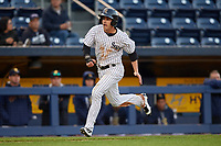 Scranton/Wilkes-Barre RailRiders second baseman Tyler Wade (23) running the bases during a game against the Pawtucket Red Sox on May 15, 2017 at PNC Field in Moosic, Pennsylvania.  Scranton defeated Pawtucket 8-4.  (Mike Janes/Four Seam Images)
