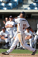 Austin Davidson (10) of the Pepperdine Waves bats during a game against the Oklahoma Sooners at Eddy D. Field Stadium on February 18, 2012 in Malibu,California. Pepperdine defeated Oklahoma 10-0.(Larry Goren/Four Seam Images)