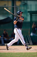 Atlanta Braves Austin Bush (59) hits a home run during an Instructional League game against the Detroit Tigers on October 10, 2017 at the ESPN Wide World of Sports Complex in Orlando, Florida.  (Mike Janes/Four Seam Images)