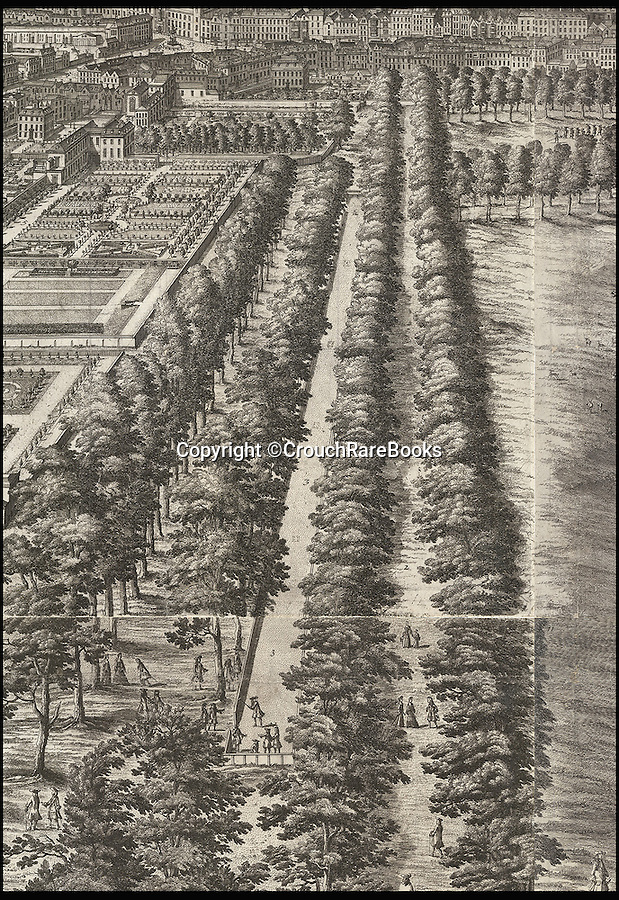 BNPS.co.uk (01202 558833)<br /> Pic: CrouchRareBooks/BNPS<br /> <br /> The Mall - then a tree lined boulevard through St James Park.<br /> <br /> The largest map of Hanovarian London, that almost didn't see the light of day due to a Royal dispute, is being sold for £60,000.<br /> <br /> A rare and fascinating panorama was drawn 300 years ago, and reveals in incredible detail the layout of the city in the early days of Georgian Britain.<br /> <br /> The piece of art, measuring 40ins by 80ins, was produced in 1717 by Dutch artisan Jan Kip for Caroline of Ansbach, the Princess of Wales. <br /> <br /> But George I banned its publication for 9 years after falling out with his son and daughter in law in a bitter family dispute.<br /> <br /> He finally relented in 1726 allowing the glorious vista showing a far-reaching view from Buckingham House (Buckingham Palace) over St James's Park and Westminster towards the City of London, to be produced.